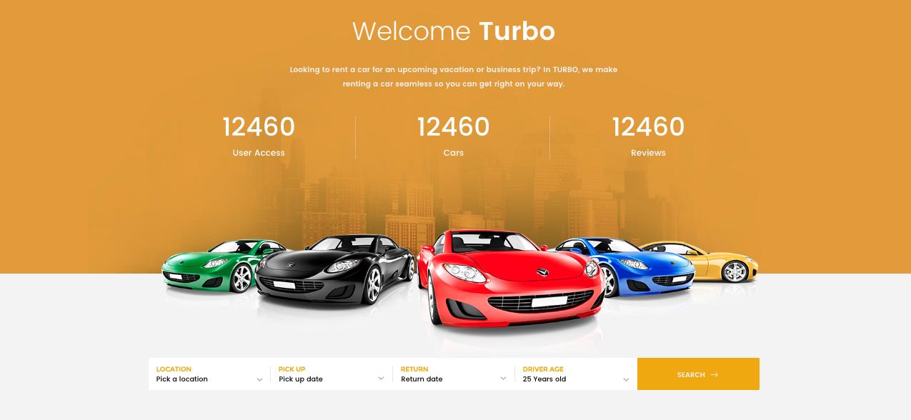 Home Two Banner Turbo Car Rental Wordpress Theme